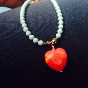 small red heart pendant necklace